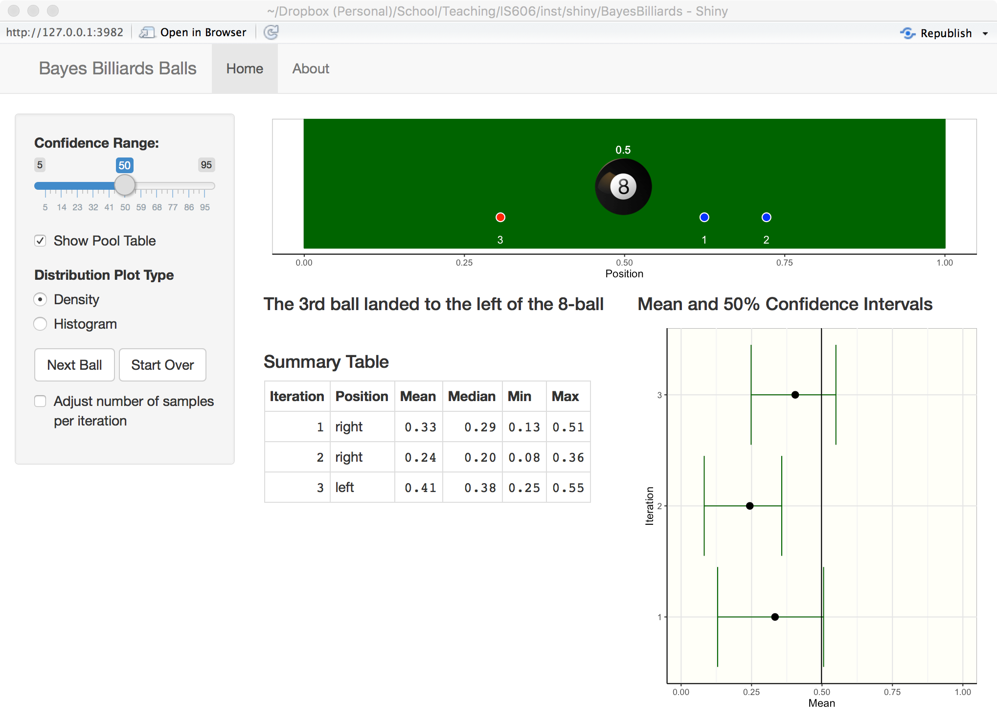 Bayes Billiards Shiny App Screenshot